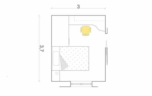 Nella camera rettangolare (cm 300x 370), pensili sul letto e cabina sono allineati, mentre lo scrittoio è sulla parete adiacente.