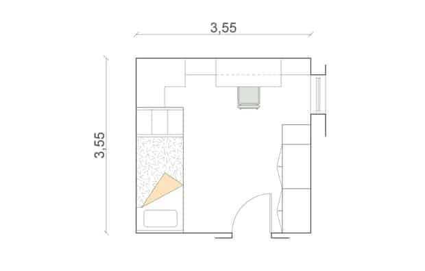 La stanza quadrata (cm 355x355) utilizza il contenitore ad angolo per raccordare i letti con la zona scrittoio. Il resto dell'armadio si trova vicino alla finestra.