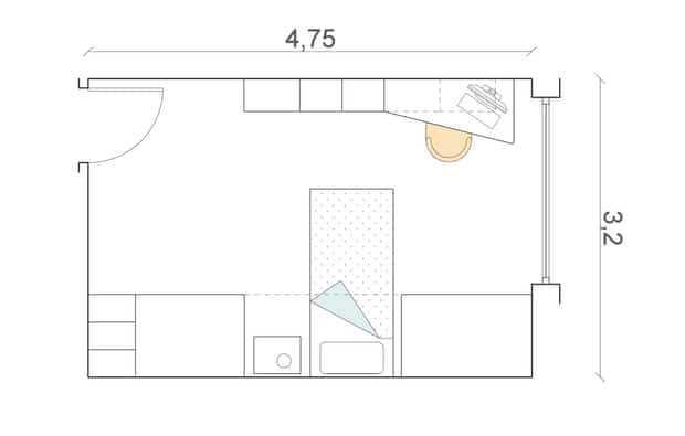 Nella camera rettangolare (cm 320 x 475) i due letti e l'armadiatura si mettono su una delle pareti lunghe; di fronte c'è la zona studio.